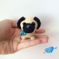 Hello, my friends! Today you will get to know how to crochet a baby pug dog! It is so cute, isn't it? Follow this free amigurumi pattern.