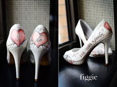 Coral Hand Painted Wedding Shoes by Figgie // www.figgieshoes.com