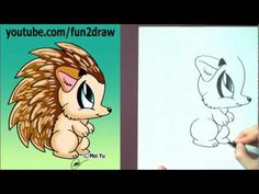 How to Draw Cartoon Animals - How to Draw a Hedgehog. check her channel out shes awsome