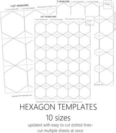 Excellent article on quilting hexagons. Has templates for