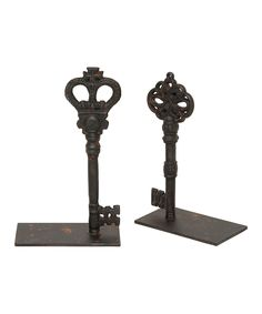 Set of two weathered metal bookends with skeleton key details. Product: Small and large bookendConstruction Material: MetalColor: Distressed blackFeatures: Add country-chic charm to any roomDimensions: H x W x D (large)