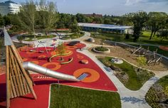 12003 aerial playground with train station in background. Landscape Model, Landscape Elements, Landscape Design, Playground Design, Outdoor Playground, Children Playground, Public Architecture, Landscape Architecture, Parc A Theme