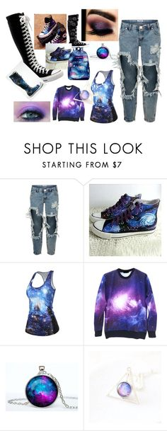 """""""galaxy"""" by lorettawendt ❤ liked on Polyvore featuring moda, One Teaspoon, Converse, HVBAO, BHCosmetics, JanSport, women's clothing, women, female e woman"""