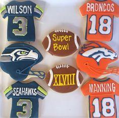 Super Bowl 2014 cookies!  Seattle Seahawk cookies or Denver Bronco cookies??!!!