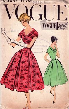 50s Vintage Vogue Special Design Pattern S 4857 Full Skirt  Dress Bust 34.