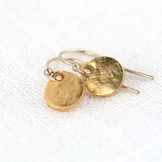Gold Tiny Earrings / Small Gold Earrings Dangle / Organic Shape Discs / Simple Gold Jewelry