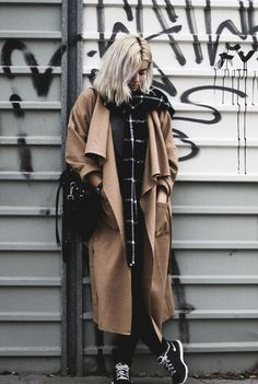 Perfect layering by Márcia with Lookbook Store's camel draped open-front long coat. | Lookbook Store OOTD #LBSDaily
