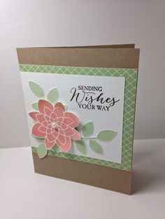 card by Michelle Quinno, crisp canteloupe, pistachio pudding and kraft, Crazy About You stamp set Crazy About You, Flower Patch, Square Card, Love Is Sweet, Flower Cards, Anniversary Cards, Stampin Up Cards, Cardmaking, Your Cards