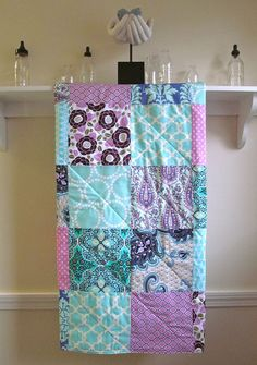 Modern Baby Girl Quilt - Lavender and Aqua - Patchwork - Baby Girl Quilt - Minky Back, Teal, Purple, Orchid, Turquoise,Nursery Bedding,