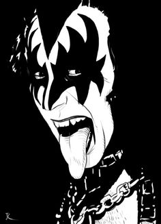 East Urban Home Gene Simmons by Giuseppe Cristiano Painting on Wrapped Canvas Stencil Art, Stencils, Gravure Photo, Rock Poster, Kiss Art, Rock And Roll Bands, Gene Simmons, Silhouette Art, Arte Pop