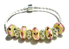 european beads leather bracelet lampwork beads yellow pink   | egrobeck - Jewelry on ArtFire