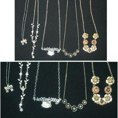 Assorted necklaces 5 piece necklace bundle , Hello kitty Necklace , floral necklace , bow charm necklace Hello Kitty Jewelry Necklaces