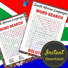 South African Languages Word Search Printable, Travel Activity Sheets, Word Search Puzzle For Adults and Teens, Printable, Instant Download South African Languages Word Search Printable, Travel Activity Sheets, Word Search Puzzle For Adults and Teens, Printable, Instant Download<br> Printable Crossword Puzzles, African Words, Activity Sheets, Travel Activities, Letter Size, Languages, Word Search, Have Fun, Teen