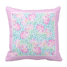 Shop Pink Roses, White Butterflies on Blue, Polka Dots Throw Pillow created by poshandpainterly. Floral Throws, Floral Throw Pillows, White Butterfly, Custom Pillows, Pink Roses, Butterflies, Polka Dots, Cushions, Make It Yourself