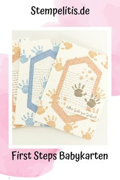 Babykarte mit dem Stempelset First Steps von Stampin Up. Frühjahrskatalog 2019. Stamping Up Cards, First Step, Stampin Up, Card Ideas, Crafts, Gifts, Crafting, Kids, Birds
