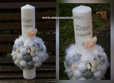 Lumanare botez cu ingeras. Christening Decorations, Baptism Candle, Pillar Candles, Projects To Try, Homemade, Wedding, Business, Party, Projects