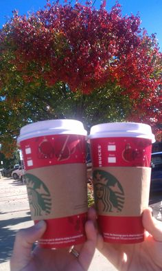 Starbucks in Norman Oklahoma fall autumn leaves with my bestest friend/sister