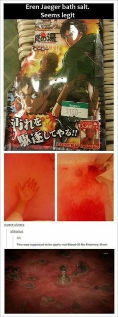 Shingeki no Kyojin/Attack on Titan Bath Salt Otaku Anime, Anime Meme, Attack On Titan Funny, Attack On Titan Anime, Levi X Eren, Armin, Mikasa, Snk Fanfiction, 5cm Per Second