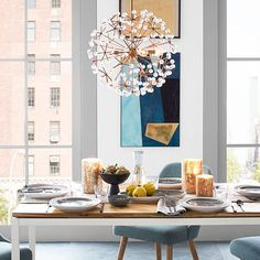 Neutral with pops of blue and copper with a touch of sparkle.