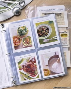Keep recipes organized neatly in a binder using photo protector sleeves - I need to do this.