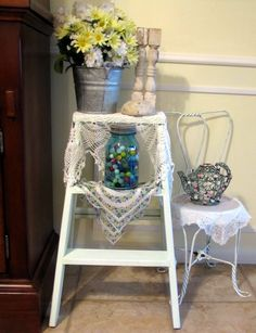Use a step ladder as front porch decor