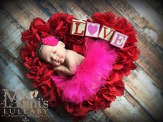 Newborn hot pink Valentine's day tutu with by mimislullaby on Etsy