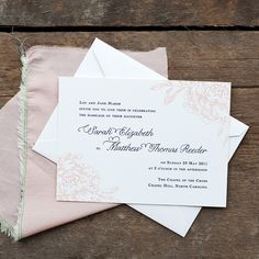 Image of peony wedding invitation