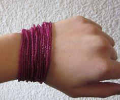 GlobeIn: Hand beaded cascade bracelet  - crimson #globein