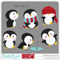 Cute Penguins Cliparts Vol 3 Digital Clip Art - Commercial and Personal Use Clipart. $4.95, via Etsy.