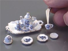 """1/2"""" Scale Blue Onion Tea Set   My granddaughter could make me a set like this"""