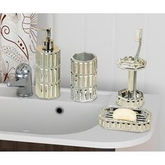 New Ibarra 4 Piece Bathroom Accessory Set by Rosdorf Park. top rated furniture sale from top store Bathroom Accessories Sets, Bathroom Sets, Bathroom Stuff, Stained Glass Cabinets, Mirrored Bedroom Furniture, Bathroom Soap Dispenser, Vanity Countertop, Soap Pump, Crackle Glass