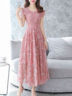 Chiffon floral printed lace maxi dress, with pink or other colors, you will love it, shop now! Source by mcsohni maxi dress Dresses For Teens, Modest Dresses, Simple Dresses, Sexy Dresses, Cute Dresses, Beautiful Dresses, Casual Dresses, Fashion Dresses, Summer Dresses