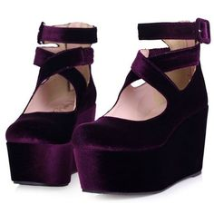 Cross Strap Velvet Wedges OASAP.COM ❤ liked on Polyvore featuring shoes, purple, platform, wedges, strap shoes, velvet shoes, zip shoes, zipper shoes and wedge shoes