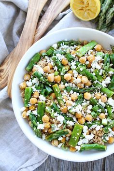 This Asparagus Chickpea Quinoa Salad with feta cheese and a simple lemon vinaigrette is perfect for spring. It can be served as a main dish or side dish.