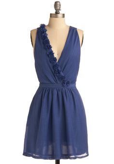 Croissants in the Columbine Dress - Blue, Solid, Cutout, Flower, Casual, Sleeveless, Spring, Summer, Short