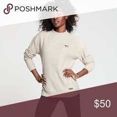 """Mock Neck Stadium BNWOT Size XS OVERSIZED SOLD OUT ⛔️I will ignore any """"lowest?"""" comments ⛔️PRICE FIRM ⛔️NO TRADE ⛔️SMART REMARKS WILL GET YOURSELF BLOCKED IN MY CLOSET ✅$40 VINTED PINK Victoria's Secret Tops Sweatshirts & Hoodies"""