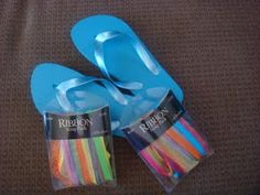 Flip flops decorated with scrap ribbon