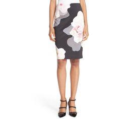 Women's Ted Baker London 'Porcelain Rose' Print Knit Pencil Skirt (4.790 CZK) ❤ liked on Polyvore featuring skirts, black, knit pencil skirt, ted baker skirt, floral-print pencil skirts, flower print skirt and floral knee length skirt