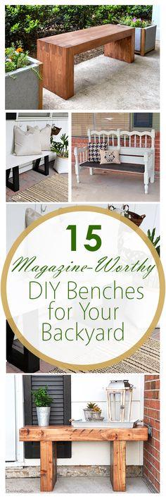 DIY backyard benches, DIY outdoor furniture, outdoor furniture ideas, DIY outdoors, everything DIY, popular pin, outdoor living.