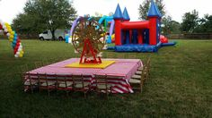 006 Kiddie Tables with Red & White Linen, Center Table with Yellow Linen and Ferris Wheel