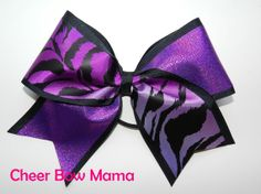 Purple Tiger Cheer Bow by Cheer Bow Mama