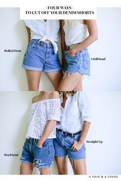 64 Ideas for clothes diy jeans shorts Diy Shorts, Sewing Shorts, Thrift Store Diy Clothes, Diy Clothes Refashion, Diy Clothing, Diy Clothes Hacks, Clothes Crafts, Denim Cutoffs, Cut Jean Shorts