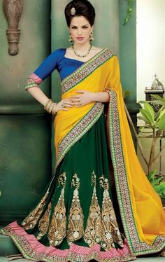Picture of Alluring Yellow and Green Party Wear Saree