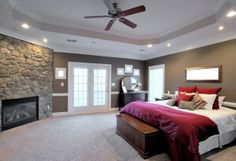 Bedroom, Classic Ceiling Fans For Modern Bedroom With Fireplace: Bedroom Ceiling Lighting Ideas