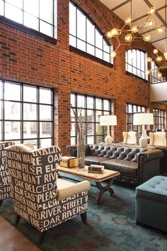 Love the whole look & feel... Chair style, exposed brick, industrial chic