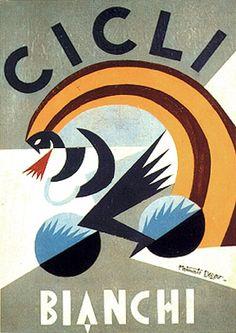Fortunato DEPERO: Poster design for Cicli Bianchi, 1924.