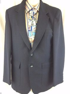 The Comfort Fourpiece Sport Coat Dark Blue Navy 2 Button Vented Polyester Blazer #TheComfortFourpiece #TwoButton