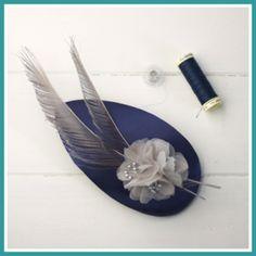 Navy blue and grey fascinator by Palomilla on Etsy Tocado azul noche y gris, Palomilla Tocados