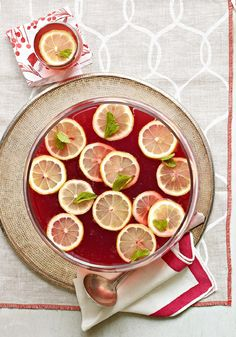 Pomegranate-Lemonade Punch — This flavorful, Healthy Living punch recipe gets its fizz from diet ginger ale and its refreshing zing from pomegranate and lemon juices.