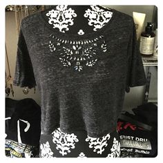 Embellished grey cropped top Embellished grey crop top tee from Hollister. Great condition! Hollister Tops Crop Tops